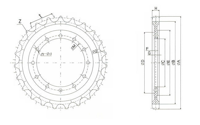 E70B Casting Drive Sprocket OEM CATERPILLAR Undercarriage Parts